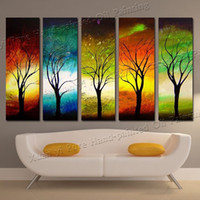 Wholesale Hand painted piece modern Season Tree Wall Art Pictures Abstract Oil Paintings On Canvas For Sale Home Decoration No Framed