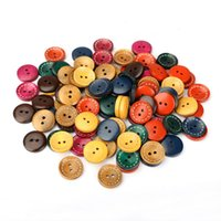 Wholesale 100PCS mm Mixed Colors Holes Round Wood Buttons for Sewing Scrapbooking DIY Garment Accessories hv3n