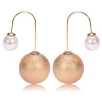 Wholesale Simulated pearl copper hook style drop ball earrings Copper Hook Drop Earrings pearl copper hook pendant earrings Hoop Huggie Multi Colors