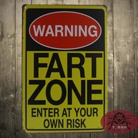 animal warning - WARNING SIGNS FART ZONE ENTER AT YOUR OWN RISK Vintage Signs iron Poster art Wall Decor Painting