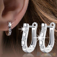 Wholesale 1 Pair Fashion Silver Plated Harp White Hoop Earrings Women SOI