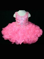 Wholesale Girl s Pageant dress Gowns Ball Gown mini Short Dresses Spaghetti crystal Organza Cupcake Ruffles Infant Toddlers Flower Girl Dresses