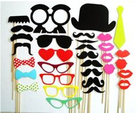 Wholesale 32Pcs DIY Photo Booth Props Mustache Lip Stick Wedding Christmas New Year Party Accessories