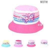 Cheap 2015 Summer Baby Girls Bucket Hats Children butterfly Embroidery Bucket Cap Kids Accessories Free Shipping 5 PCS