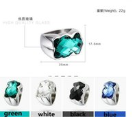 Wholesale New Crystal Bear Rings for men and Women Large Stone Stainless Steel Gold Plated Big Ring Jewelry