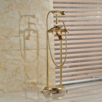Wholesale And Retail Golden Finish Solid Brass Bathroom Tub Faucet Dual Cross Handles Telephone Style Hand Shower Mixer Tap