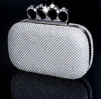 Wholesale Cocktail Evening Bags - New Gift Fashion Wedding Bridal Handbags Prom Crystal Rhinestone Diamond Ring Knuckle Evening Clutch Bag Shoulder Purse Wallet Cocktail Box
