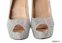 Formal High Heel Peep Toe Classic Bling Bling Peep Toe Wedding Shoes 12 CM High Slimmer Heel Silver Crystal Bridal Evening Party Prom Sandals Lady Dancing Rhinestone