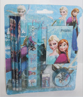 Wholesale FROZEN book cartoon character pencil eraser sharpener ruler stationery set in stock outlets cheap drop shipping HG