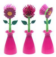 bathroom design tools - Cleaning Brush Sun Flower shape pan pot brush base design Multi bathroom brush cleaning tool CS37
