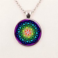american art glass - Picture Flower of Life Pendant Chakra Necklace Sacred Geometry Jewelry Art Glass Cabochon pendant glass gemstone necklace