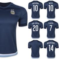 Venta al por mayor Jersey de Fútbol Argentina 2015 MESSI DI MARIA Azul 15/16 camisetas de fútbol Argentina KUN AGUERO Kits MARADONA superior de Tailandia ventiladores de la serie