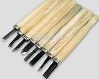 Wholesale 8PC Wood Handle Carving Chisels Tool Kit DIY Modeling Seal Sculpt Handy Tools Set order lt no track