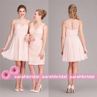 alternative shipping - 2015 Short Alternative Bridesmaid Dresses Cheap Under Sheer Lace Beach Country Bridal Party Gowns Maid of Honor Wear Sale