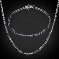 aluminium necklace - Cool Black Aluminium Alloy Necklace Bracelet Set For Men Or Women High Quality MM Box Link Chain Jewelry Sets GNH204