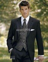 Wholesale Groom Tuxedos shirt and pants set New Woolen Two Button Best Man Suit Wedding Groomsman men Suits Bridegroom jacket pants tie vest