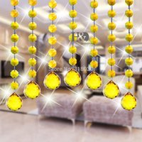 Wholesale 520cm Curtain String Yellow Crystal Octagon Beads with mm Sphere Multi faceted Glass ChandelierHome Decor