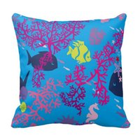 cheap sofa - Cheap Blue Coral Printed Linen Cotton Cushion Cover For Sofa Suede Nap Throw Pillow Case Chair Car Seat Pillowcases