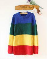 bat wing sweater - Bulk Women Rainbow Crayola Sweater Loose Bat Wings Multi Color Knitted Sweaters Pullovers Wide Stripes Knitwear Fall Sweatshirt WY4007 P