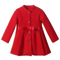 baby coat factory - Pettigirl Factory Price Girls Autumn And Winter Outwear Warm Red Kids Jacket Decorated With Bow Belt Retail Baby Wear OC80918 F