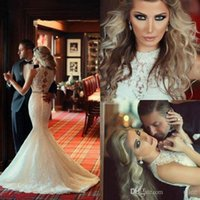 Wholesale 2016 New Arrival Sexy Lace Close fitting Mermaid Wedding Dresses With Beads Sash Covered Buttons Plus Size High Quality Wedding Bridal Gowns