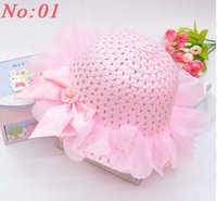 Wholesale Children s Caps visor sun Hats fashion baby girl lace flower Straw hat kids beach summer sun cap hat pink Y Y