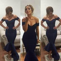 Wholesale Navy Blue Evening Dresses Mermaid Off Shoulder Celebrity Dresses Arabic dress Bridal Gowns Party Prom Tea length Myriam Fares