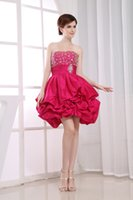 art deco gifts - New Year Gift Strapless Beaded Breast Puffy Taffeta Mini Length Lovely Lantern Party Dresses Fuchsia Spring USA