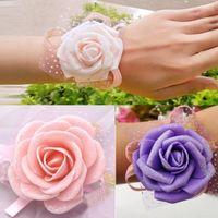 Wholesale Hot Wedding Banquet Party Supplies Bridal bridesmaid flower wrist corsage wrist flower high quality foam headdress