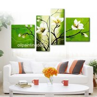 Oil Painting white flower oil - Hand Painted Home Decoration Green White Orchids Flower Wall Canvas Paintings Modern Abstract Oil Art Picture Sets