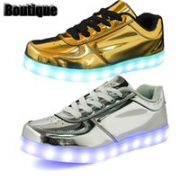 Wholesale LED Light Up Shoes for Adults New Fashion Colors Luminous Shoes with Silver and Golden Laser Metallic Leather Surface