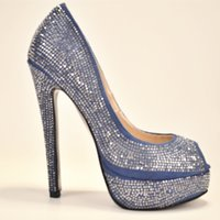 large size high heel shoes - Blue Rhinestone Peep Toe Dress Shoes High Heel Pumps Stiletto Women Shoes Patent Leather Ladies Shoes Large Size US4 to US14