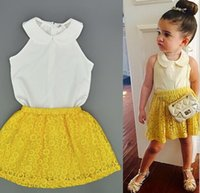 american girl news - 2016 news Baby Girls Lace Chiffon Sets European Style Kids Sweet White Vest Tank Tops Yellow Hollow Out Short Skirt Clothing