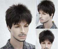 Wholesale Fashion New Menfolk Man Mens boys Dark brown Short Natural hair Wigs