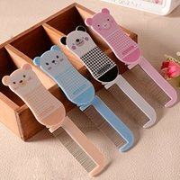 Wholesale 50pcs Sweet Cartoon Animal Design Hair Combs Portable Folding Hairbrushes With Mirror Girl Makeup Tool by122
