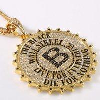 b twist - Hot Sell Hip Hop Necklace Hipster Street Dance Breaking Rhinestone B Letter Gear Round Pendant Trendy Charm Jewelry For Men Women