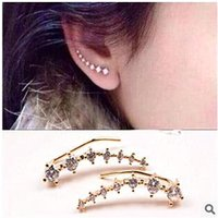 clip on earrings - 1 Pair Silver Gold Plated Stars Element Crystal Pearl Earrings Ear Hook For Women Girl Stud Clip On Screw Back Earrings Jewelry CPA291