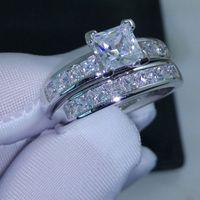 Wholesale Cut Gift Box - Luxury Size 5 6 7 8 9 10 Jewelry 10kt white gold filled Topaz Princess cut simulated Diamond Wedding Ring set gift with box