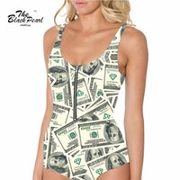 animations money - Plus size New arrival Animation Swimwears Women Sexy Printed Sexy Money dollar poll Swimsuit Digital Print Drop shipping FG1510