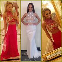 beaded silk chiffon - 2016 Hot New High Neck Pearl Beaded Sleeveless Two Pieces Chiffon Skirt Formal Long prom Evening Dresses E0152