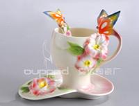 Gros-200ml Peinture européenne Porcelaine Bone China papillon Fleurs café Set Creative Tea Cup Set main Set, en gros Livraison gratuite