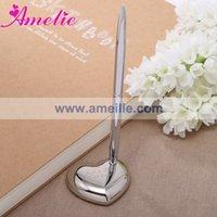 Al por mayor con el envío libre de aleación de zinc titular de la pluma para la plata personalizada de los regalos de boda del banquete de boda