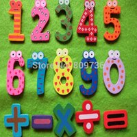 Wholesale 1 Set Hot Cut Number Wooden Fridge Magnet Education Learn Cute Kid Baby Toy