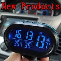 Wholesale car security thermometer for indoor and outdoor car clock cell voltage accessories car styling car electronics