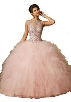 Wholesale 2015 Light Pink Quinceanera Dresses Sheer Scoop Illusion Sleeveless Open Back Lace Up Dress Beading Crystal Tulle Party Ball Gown