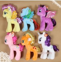 horse doll - EMS Children s Day Gift My Little Pony Plush Toys Kids Baby Colors Horse Cartoon Dolls Lovely Boys Girls Horsehair Toy H1627