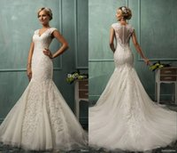 Wholesale 2015 Amelia Sposa Lace Mermaid Wedding Gowns Vintage Appliqued Fit Flare Sheer Backless Plus Size Bridal Party Dresses Vestidos De