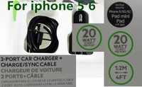 Wholesale Dual USB Car Charger Watt AMP With Pin Adapter USB Cable M FT For Belkin iPhone iPad air samsung S4 S6