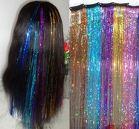 Wholesale Bling Bling Shinning Clip in Hair Extension Slice of Hair Tinsel Colorful Hair accessory cm Hairpieces Colors Available