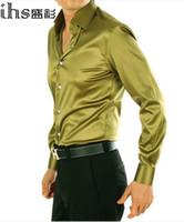 Wholesale Colors Men s Fashion Long sleeve Faux Silk Silks and Satins Shirt Mens Wedding Dress Business Casual Shirt